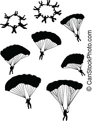 sky divers - Illustration of sky divers silhouettes - vector