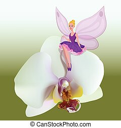 Illustration of small fairy sitting on a white flower of orchid