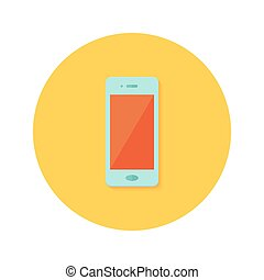 Smartphone icon over orange