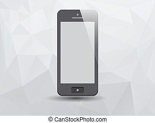Illustration of Smartphone on Low Poly Triangle Background