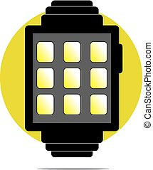 Illustration of smartwatch with green circle background