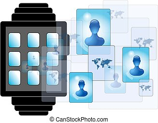 Illustration of smartwatch with social media persons