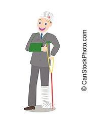 injured businessman in bandages - Illustration of smile...