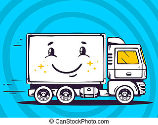 illustration of smile truck free and fast delivering to c