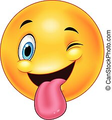 Smiley emoticon with stuck out tongue and winking eye