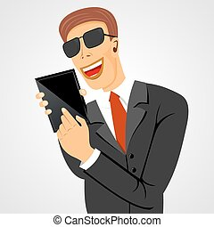 smiling business man holding tablet