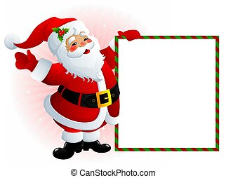 Santa Claus with message board - illustration of smiling ...