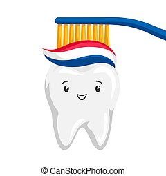 Illustration of smiling tooth brushing paste. Children...