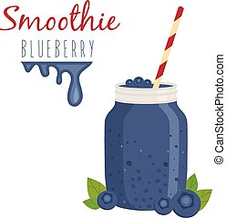 Illustration of smoothie in bank mason with straw. Vector