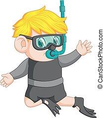 snorkeling boy cartoon