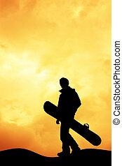 snowboarder  - illustration of snowboarder at sunset