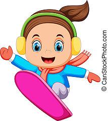 Snowboarder freerider jumping - illustration of Snowboarder...