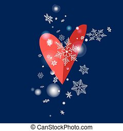 illustration of snowflakes and heart