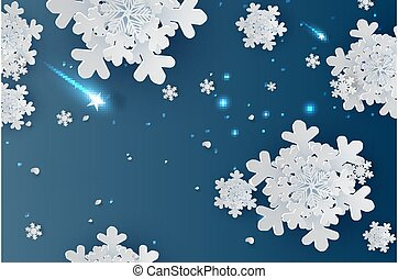 illustration of Snowflakes for winter season with place text space background. wintertime Abstract Snowflakes for greeting card, Christmas poster, Paper cut and craft style creative pastel idea vector.