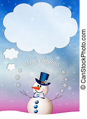 Snowman wishes you Merry Christmas - illustration of Snowman...