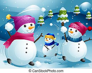 Snowball Fight - Illustration of Snowmen Having a Snowball...
