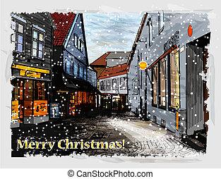 Illustration of snowy street. Christmas greeting card.