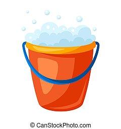 Illustration of soap bucket.
