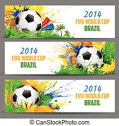 illustration of soccer ball in FIFA World Cup banner