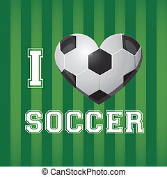 illustration of soccer ball on a background of blue green, ...