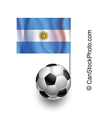 Illustration of Soccer Balls or Footballs with  pennant flag of Argentina country team