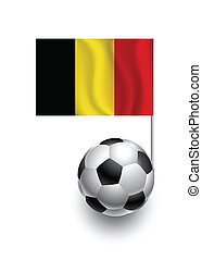Illustration of Soccer Balls or Footballs with  pennant flag of Belgia country team