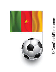 Illustration of Soccer Balls or Footballs with  pennant flag of Cameroon country team