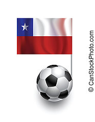 Illustration of Soccer Balls or Footballs with  pennant flag of Chile country team