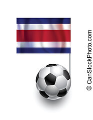Illustration of Soccer Balls or Footballs with  pennant flag of Costa Rica country team
