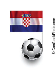 Illustration of Soccer Balls or Footballs with  pennant flag of Croatia country team