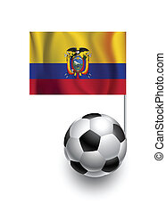Illustration of Soccer Balls or Footballs with  pennant flag of Ecuador country team