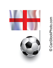 Illustration of Soccer Balls or Footballs with  pennant flag of England country team