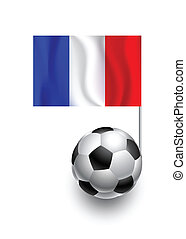 Illustration of Soccer Balls or Footballs with  pennant flag of France country team