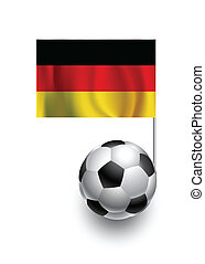 Illustration of Soccer Balls or Footballs with  pennant flag of Germany country team