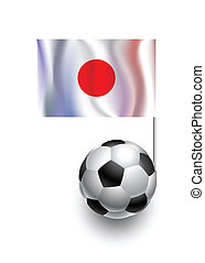 Illustration of Soccer Balls or Footballs with  pennant flag of Japan country team