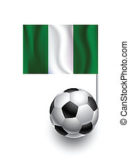 Illustration of Soccer Balls or Footballs with  pennant flag of Nigeria country team