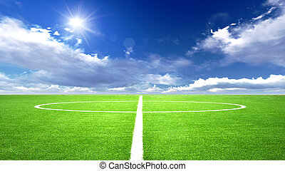 soccer field - illustration of soccer field in the blue sky