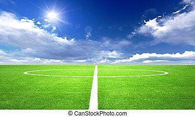 illustration of soccer field in the blue sky