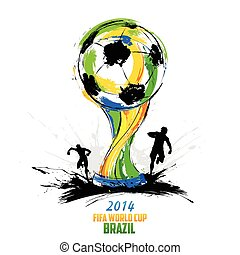 illustration of soccer player in FIFA World Cup background