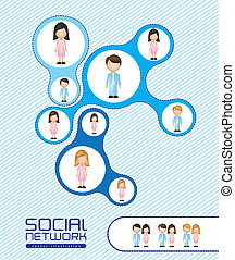 illustration of social networks with characters, vector...