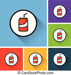 soda icons with long shadow