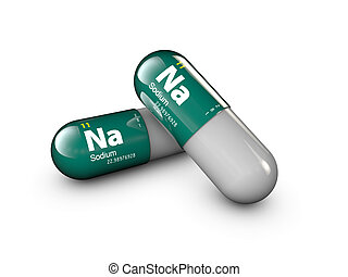 illustration of Sodium mineral. Glossy drop pill capsule and vitamin complex. Healthy life medical dietary supplement.
