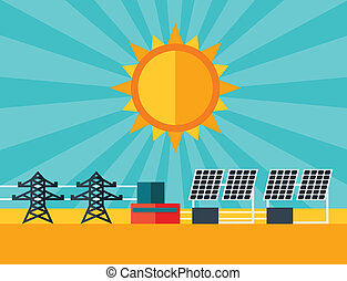 Illustration of solar energy power plant in flat style.