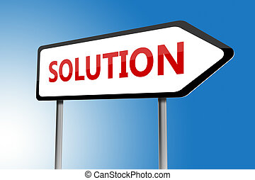 Illustration of solution directions sign