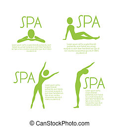 illustration of spa icons, silhouette with position of rest and relaxation, vector illustration