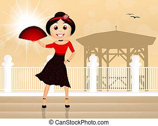 Spanish flamenco dancer - illustration of Spanish flamenco...