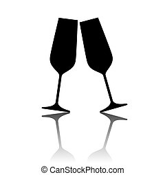 Illustration of sparkling champagne glasses.