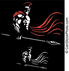 Spartan - Illustration of Spartan warrior on black...