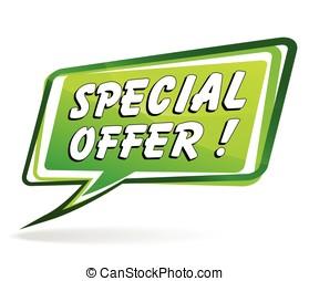 special offer green speech bubble