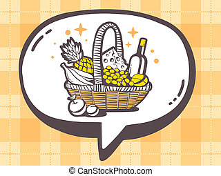 illustration of speech bubble with icon of basket with fo